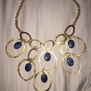 Yochi NY gold tone necklace lapis beads